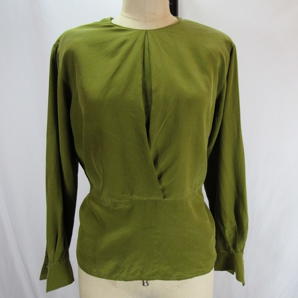 89d978b0a5643c Anne Klein Tops - Anne Klein II Vtg Olive Green Silk Blouse Top EUC